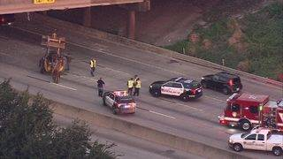 Tractor on freeway causing major delays for morning commute