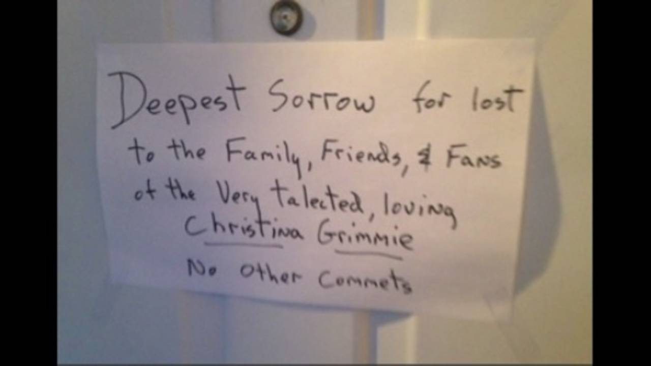 Sign posted on Loibl's front door at his home in St. Petersburg