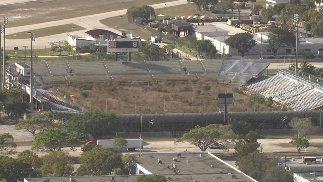 Sky 10 view of Lockhart Stadium in 2019