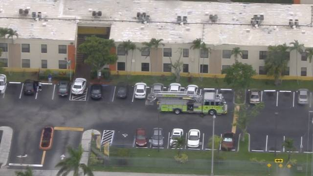 Firetruck outside sw miami-dade apartment where fireworks accident happened