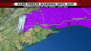 Another hard freeze Thursday, warmup on the way