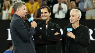 Will Ferrell interviews Roger Federer as Ron Burgundy