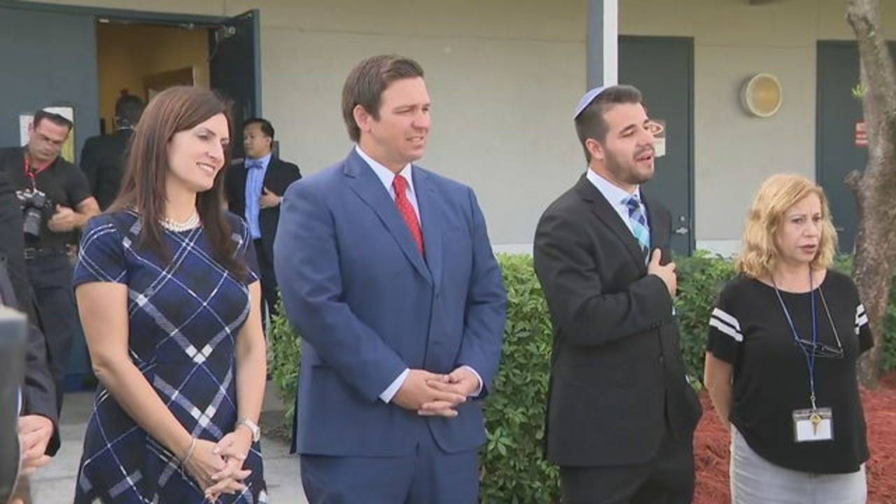 Ron DeSantis and Jeanette Nunez at Brauser Maimonides Academy in Fort Lauderdale