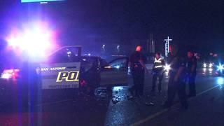 Patrol car hit by sedan while officers stop wrong-way driver