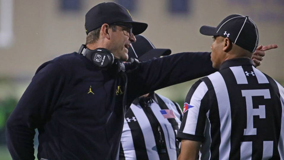 Jim Harbaugh and referees Michigan football vs Northwestern 2018
