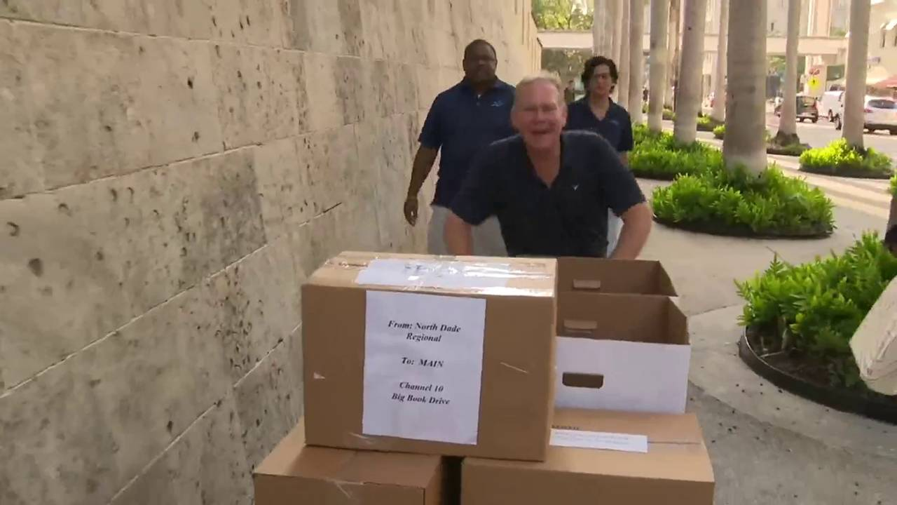 Todd Tongen big book drive in downtown Miami