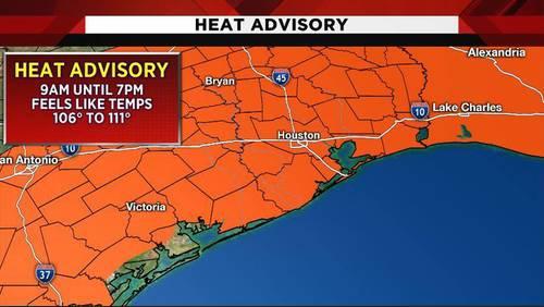 Heat advisory continues as 'feels like' temps climb to 111 in Houston area