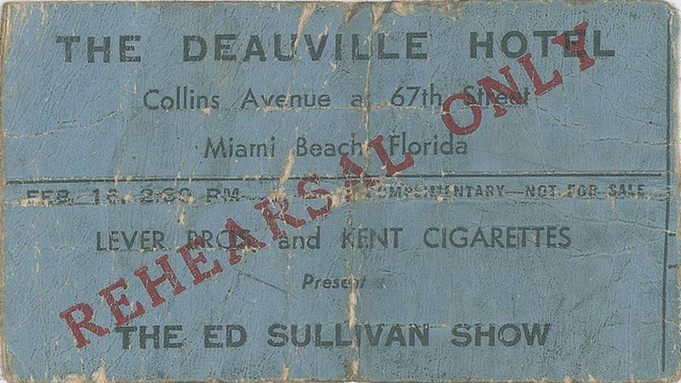 Deauville Hotel Beatles rehearsal ticket
