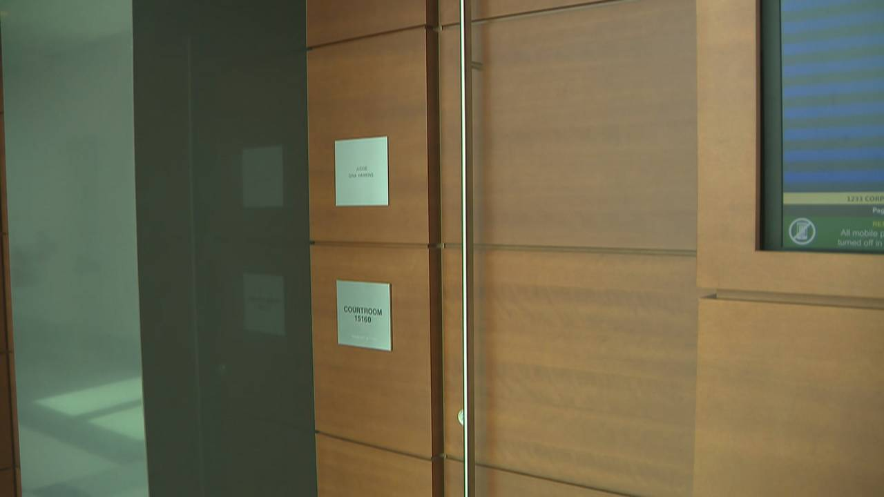 Door to Judge Gina Hawkins courtroom closed