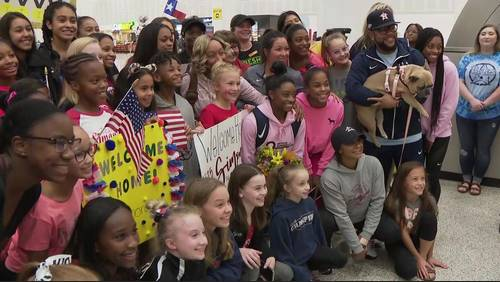 Simone Biles returns home after becoming most decorated gymnast in World Championships history
