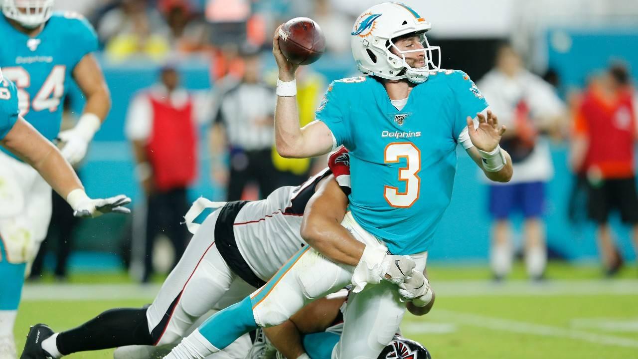 Miami Dolphins QB Josh Rosen sacked by Atlanta Falcons in 2019 preseason