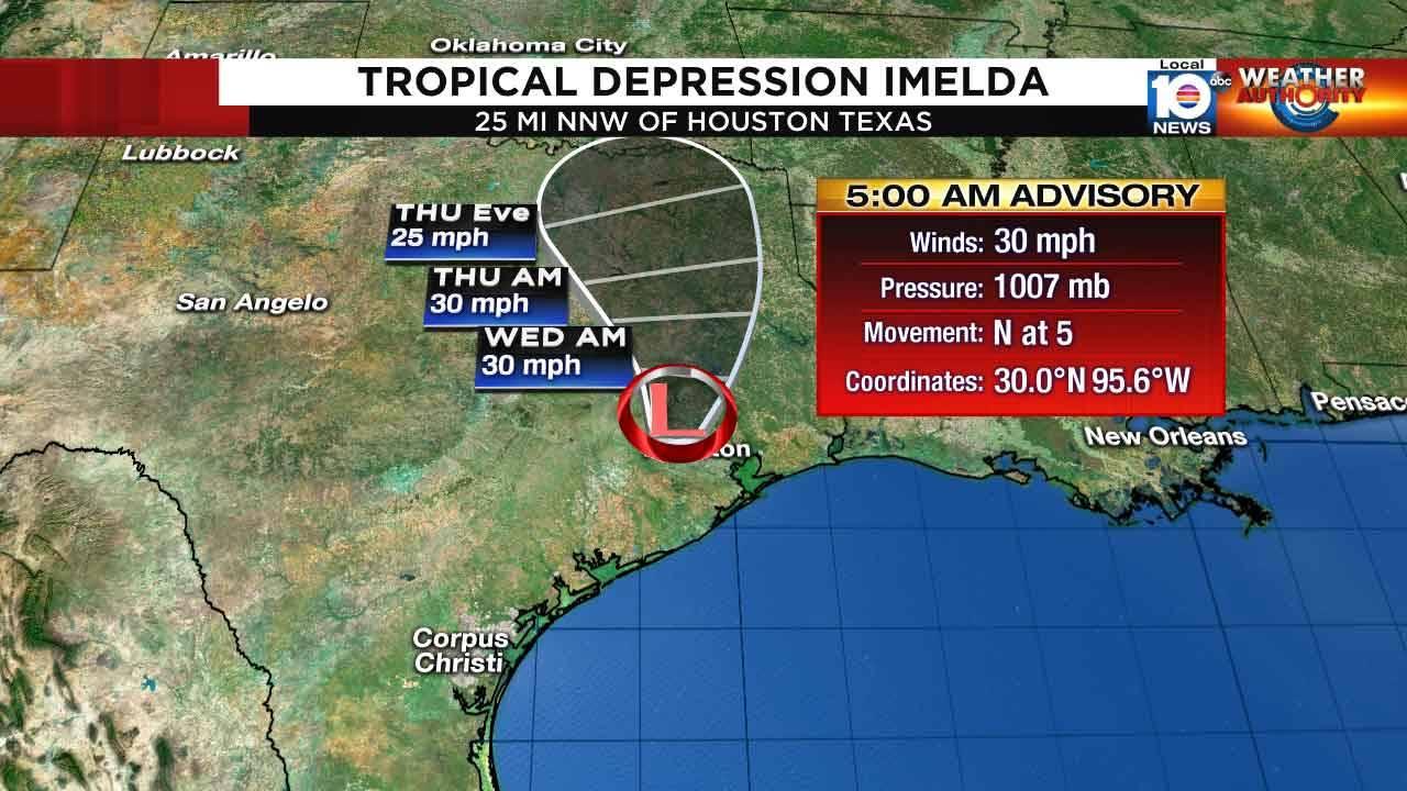 Tropical Depression Imelda 5 am Sept. 18, 2019