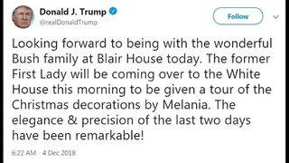 Melania Trump hosts Laura Bush for White House visit