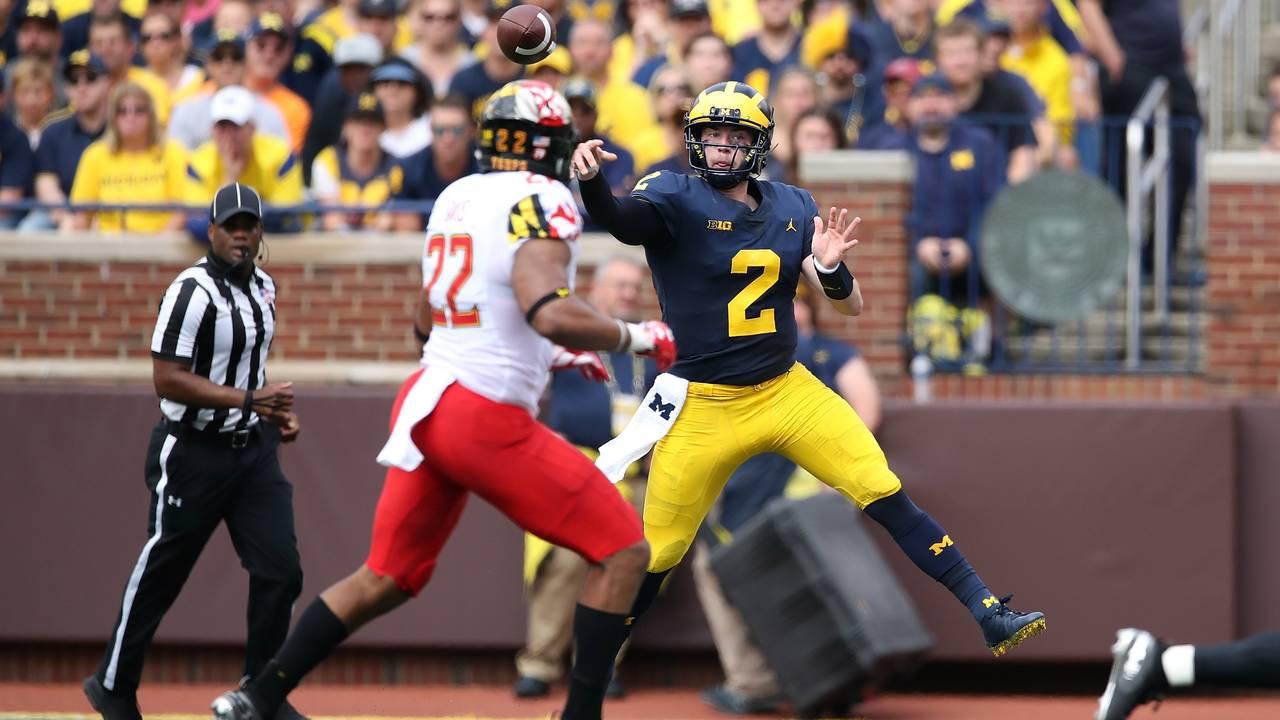 Shea Patterson jump pass Michigan football vs Maryland 2018