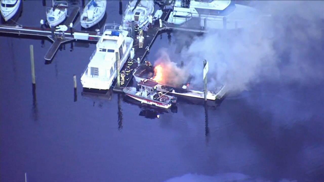 Boat fire in Sanford