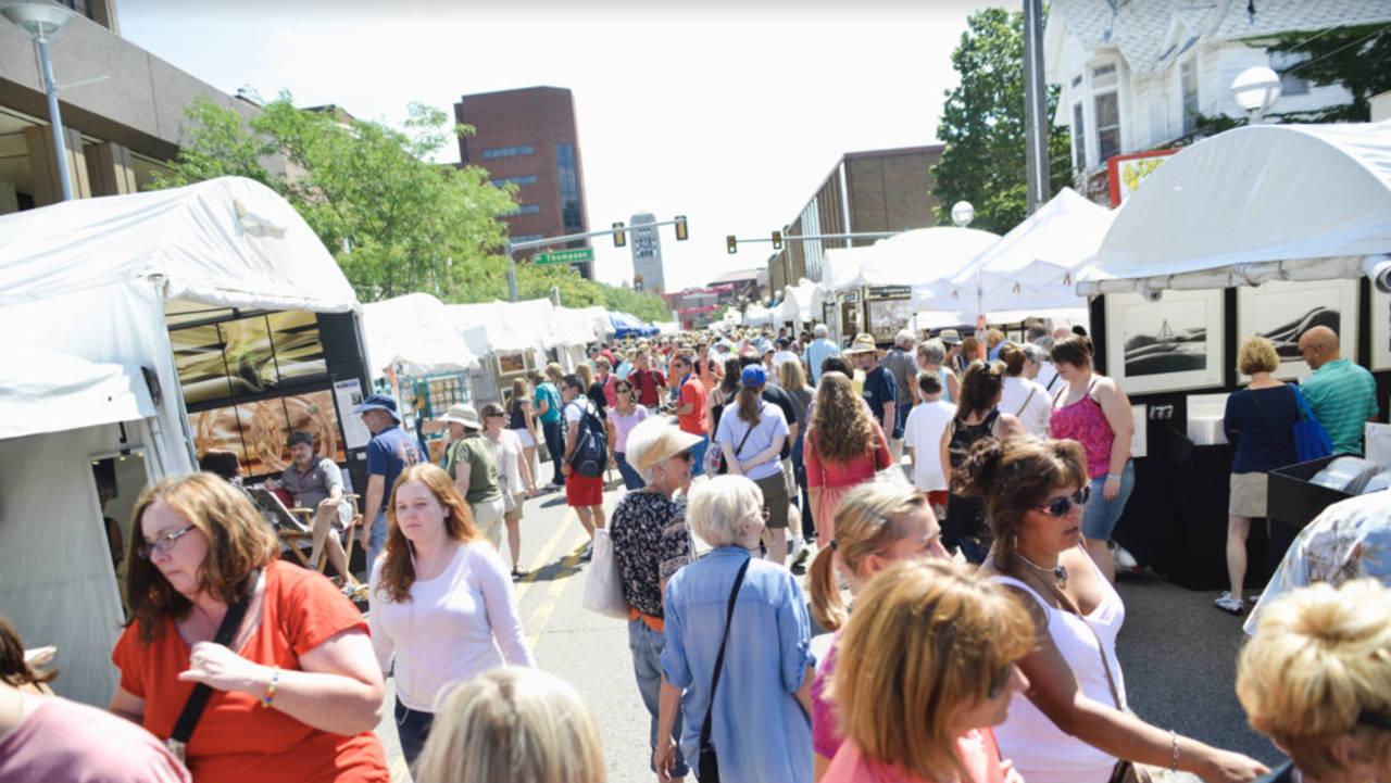 Ann Arbor Art Fair crowd booths