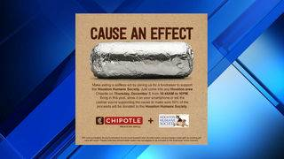 Houston-area Chipotles to give 50% to Humane Society on Thursday