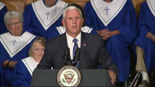 'Resilience of faith': Pence visits Rockport church to mark Harvey anniversary, arrives in Houston
