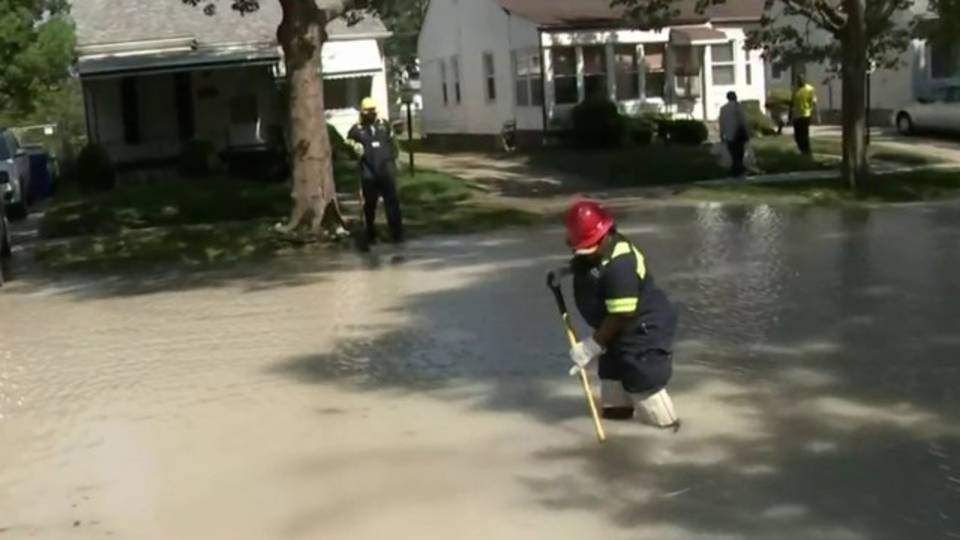 Water main break floods street Detroit's east side