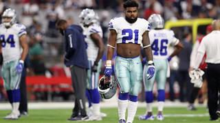 2c77e337cc4 Running back Ezekiel Elliott #21 of the Dallas Cowboys warms up before the  NFL game against the Arizona Cardinals at the University of Phoenix Stadium  on ...