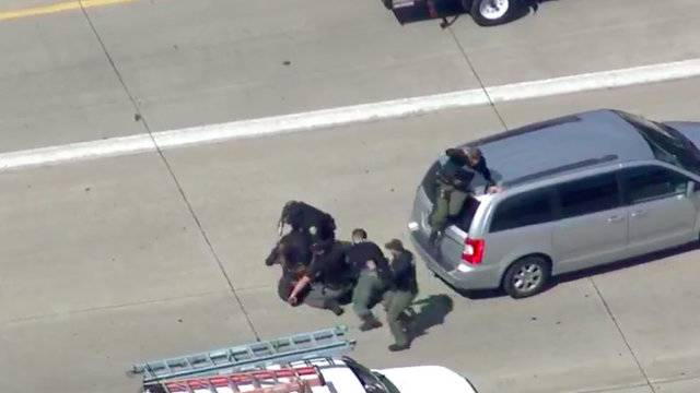 Chase suspect tackled in traffic