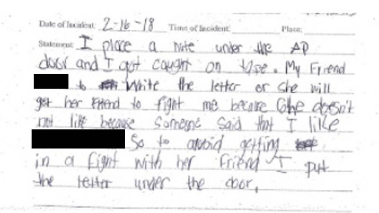Girl's written confession to threatening to shoot up Davie school