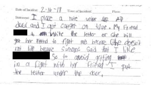 Girl's written confession to threatening to shoot up Davie school