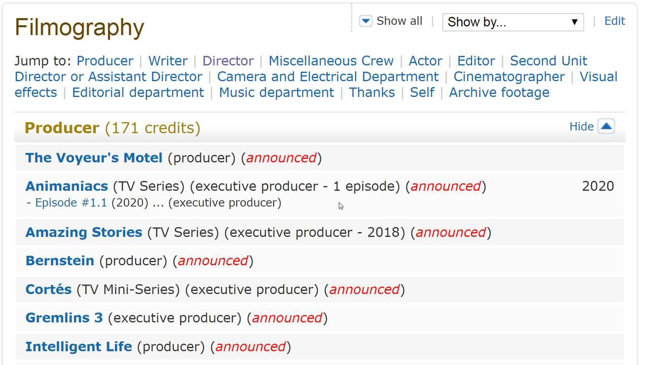 Steven Spielberg  filmography