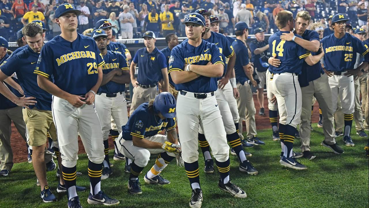Michigan baseball after championship game vs Vanderbilt 2019 College World Series CWS