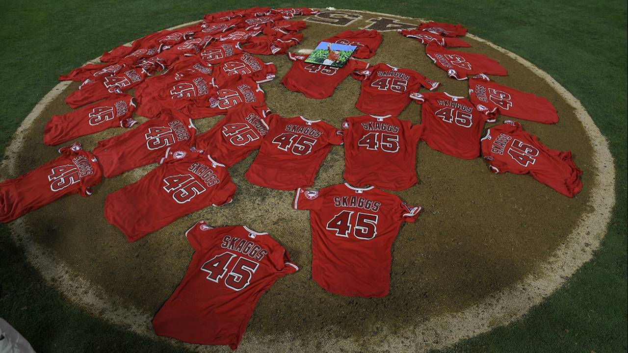 tyler skaggs jerseys on mound 7-12-19