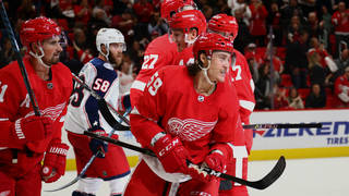 low priced 47381 c366e Tyler Bertuzzi  59 of the Detroit Red Wings celebrates his second period  goal while playing the Columbus Blue Jackets at Little Caesars Arena on  October 4, ...