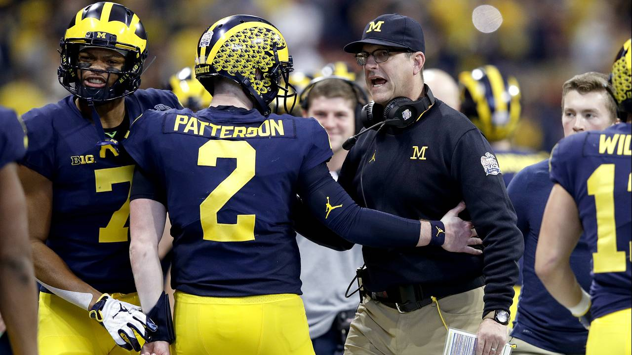 Shea Patterson Jim Harbaugh Michigan football Peach Bowl vs Florida 2018
