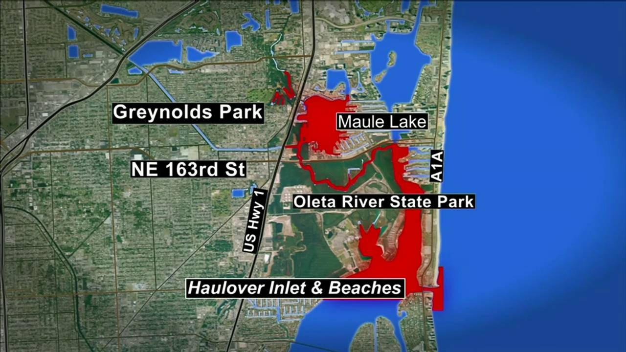 Map of water advisory at and near Oleta River State Park