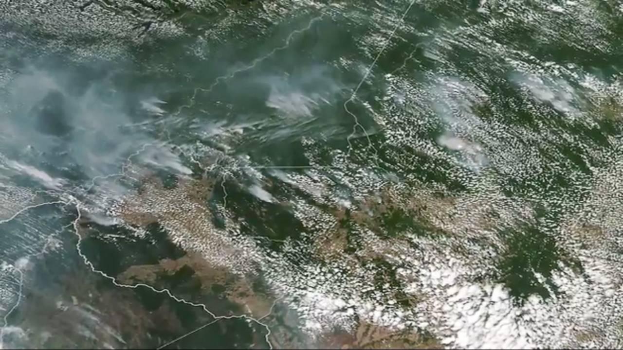 Amazon rainforest burning, NASA satellite image of fires85044455-75042528