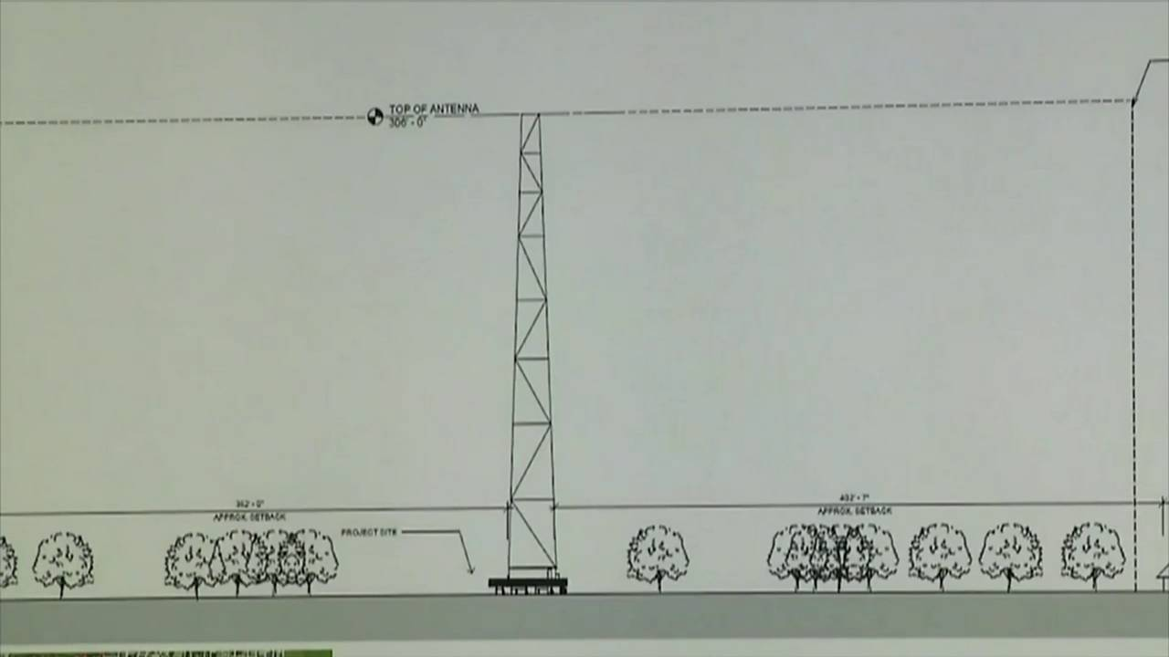 Mockup of radio tower in West Lake Park