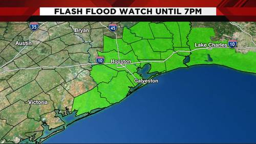 Flash flood watch issued for several southeast Texas counties