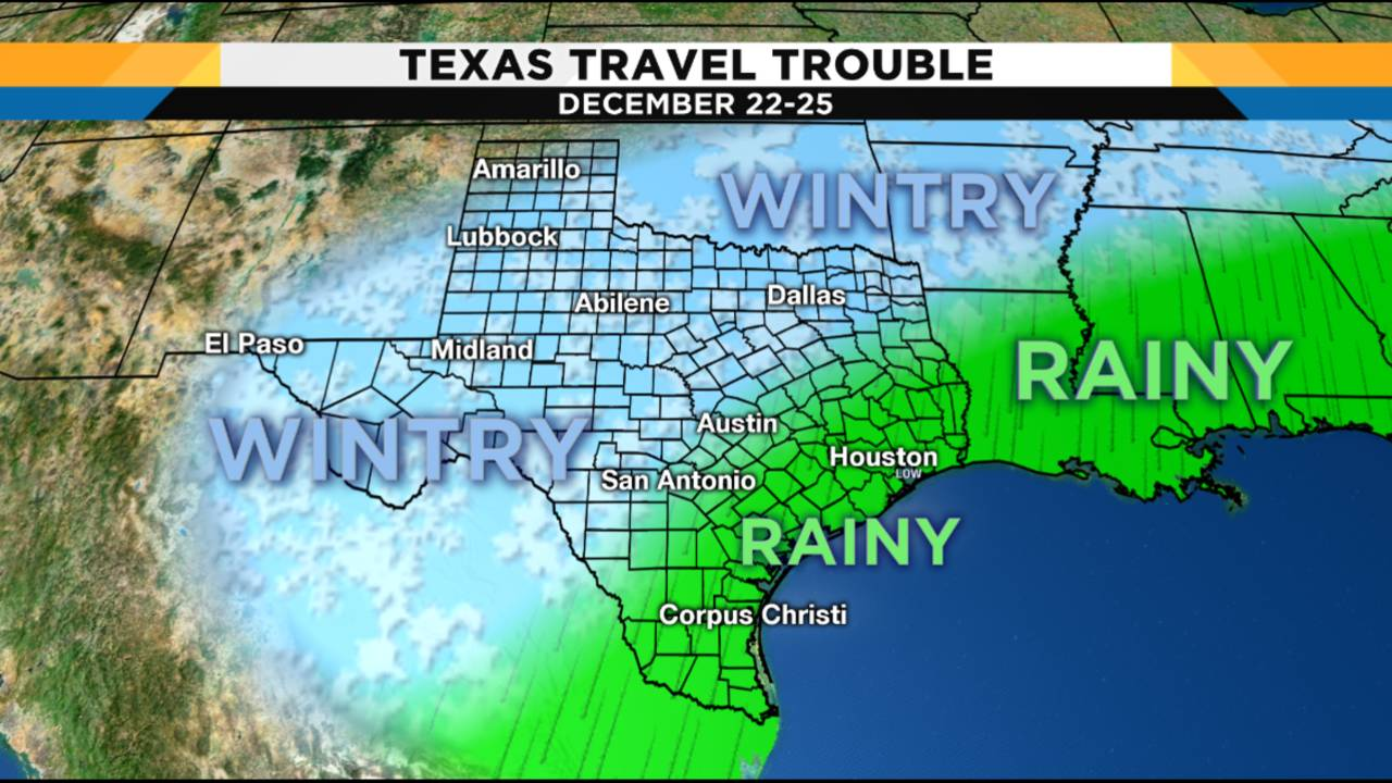 Texas Weather Map Forecast.Weather Forecast Leading Into Christmas Hints At Travel