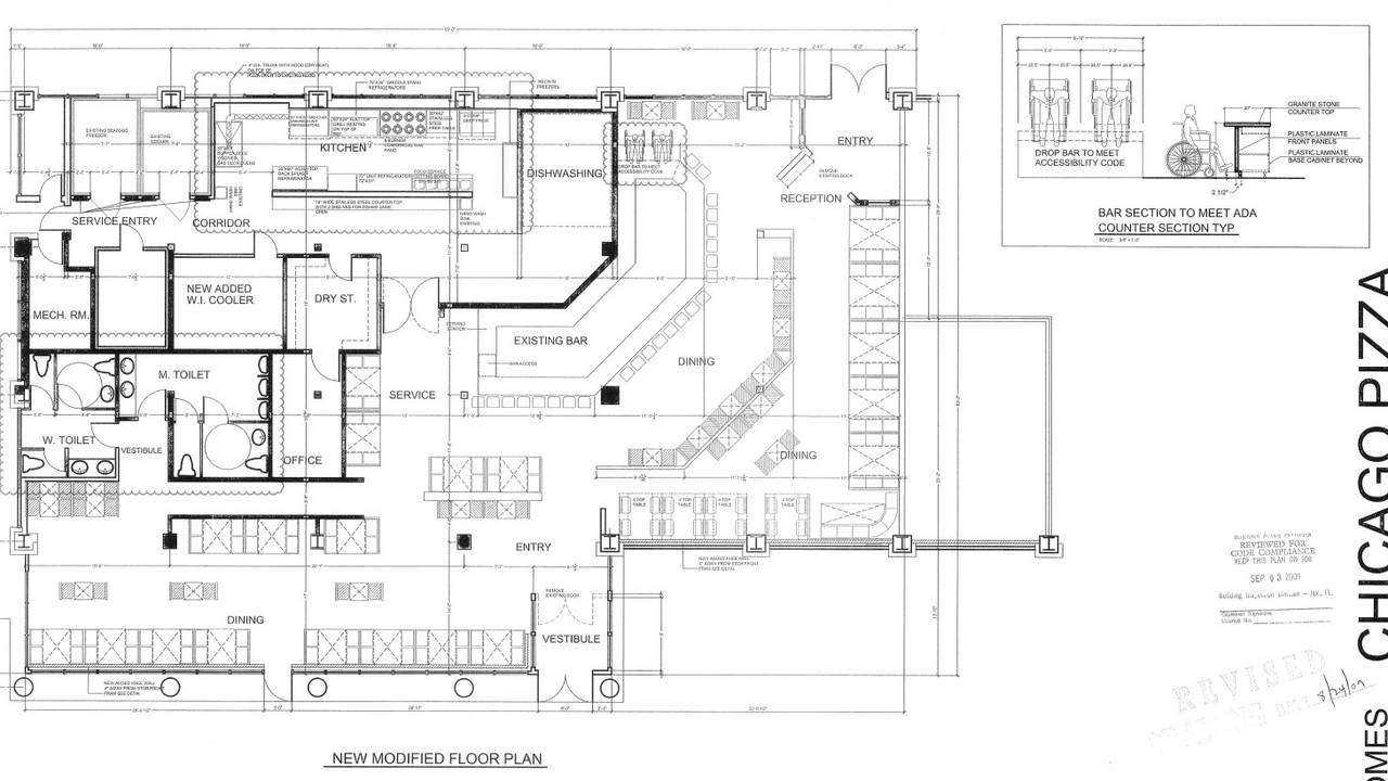 2009 approved layout for Chicago Pizza