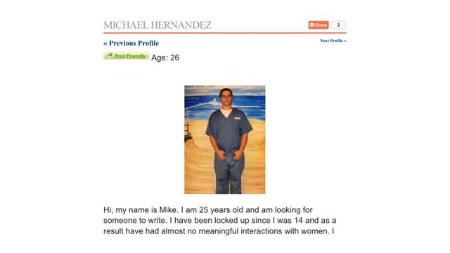 Michael Hernandez Loveaprisoner.com profile