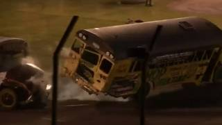 WATCH: School buses, boats hit the racetrack at Flat Rock Speedway's&hellip&#x3b;
