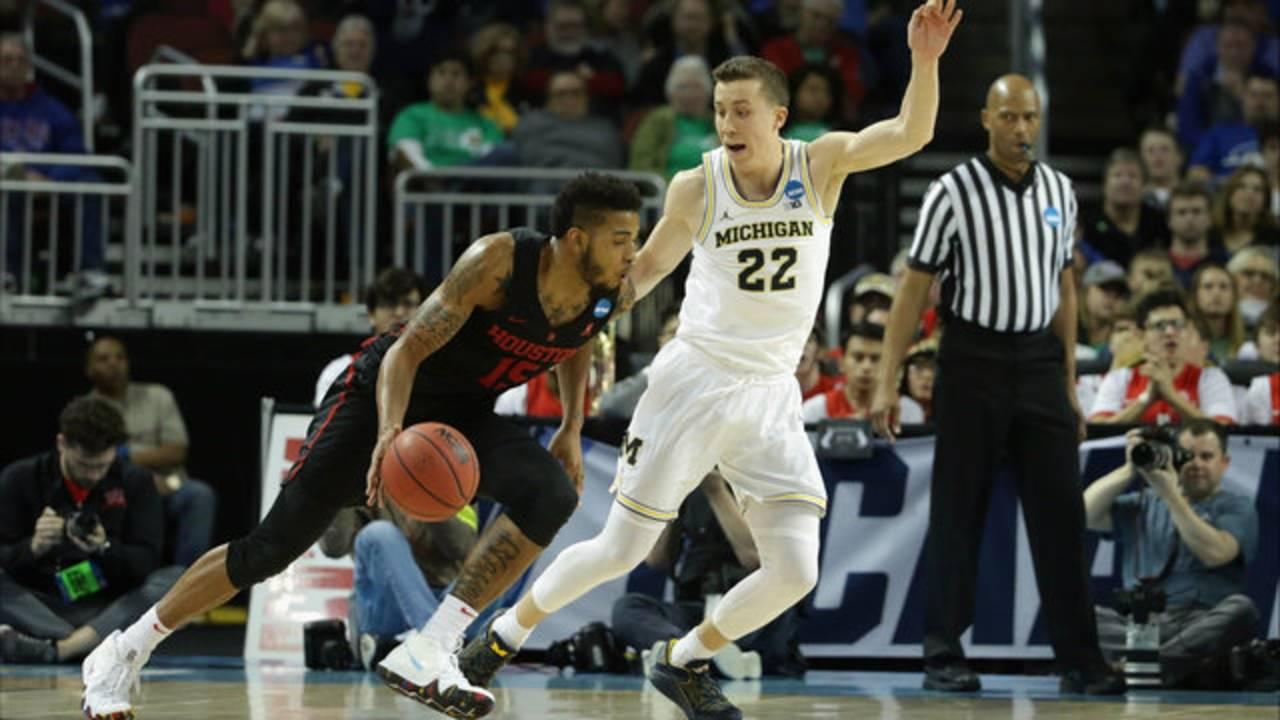 Duncan Robinson defense Michigan basketball vs Houston 2018