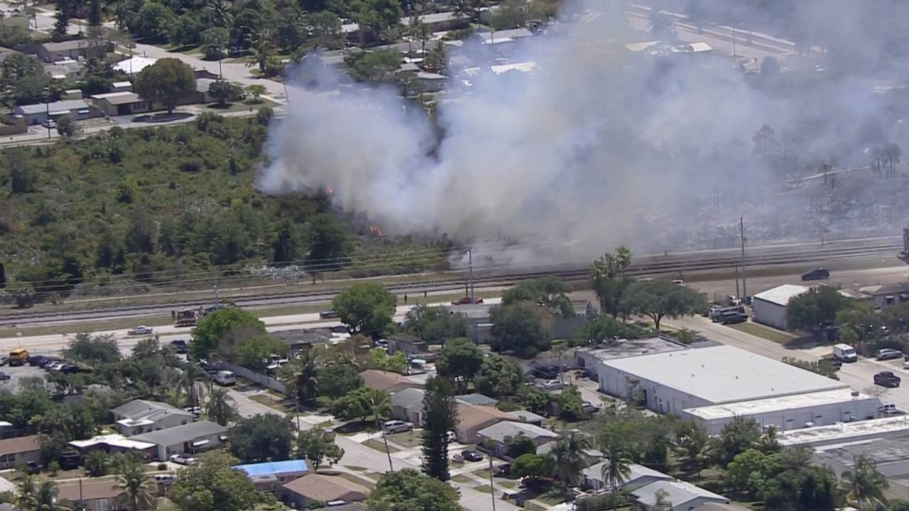Sky 10 Deerfield Beach brush fire smoke