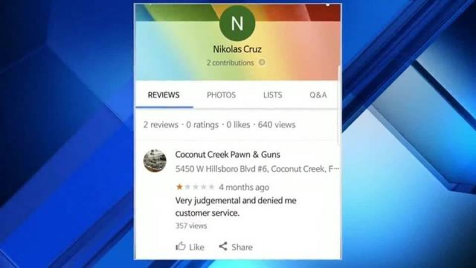 Nikolas Cruz leaves bad review for Coconut Creek Pawn & Guns
