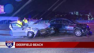 2 separate crashes snarl traffic on I-95 In Deerfield Beach