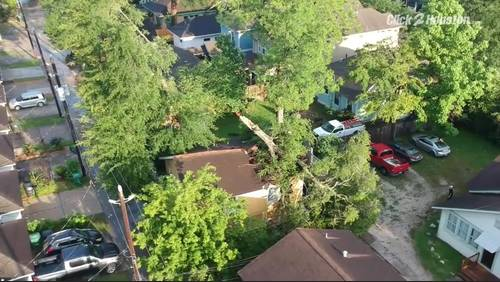Tree topples onto Heights home in overnight storm
