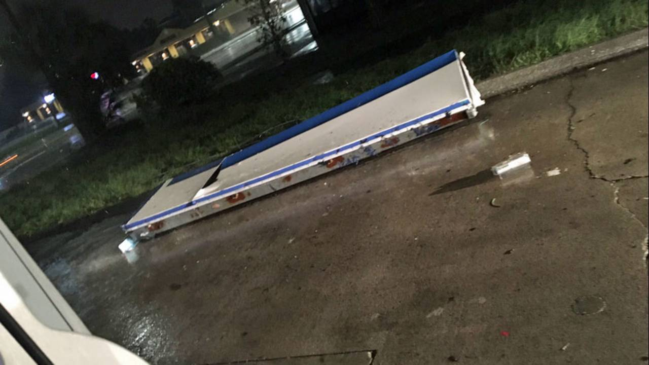 Awning blown off of Atlantic Beach gas station