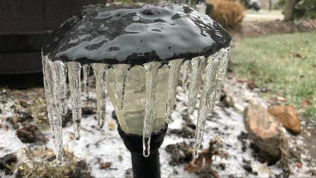 Ice on garden lamp