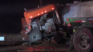 Truck driver dies in crash with another 18-wheeler