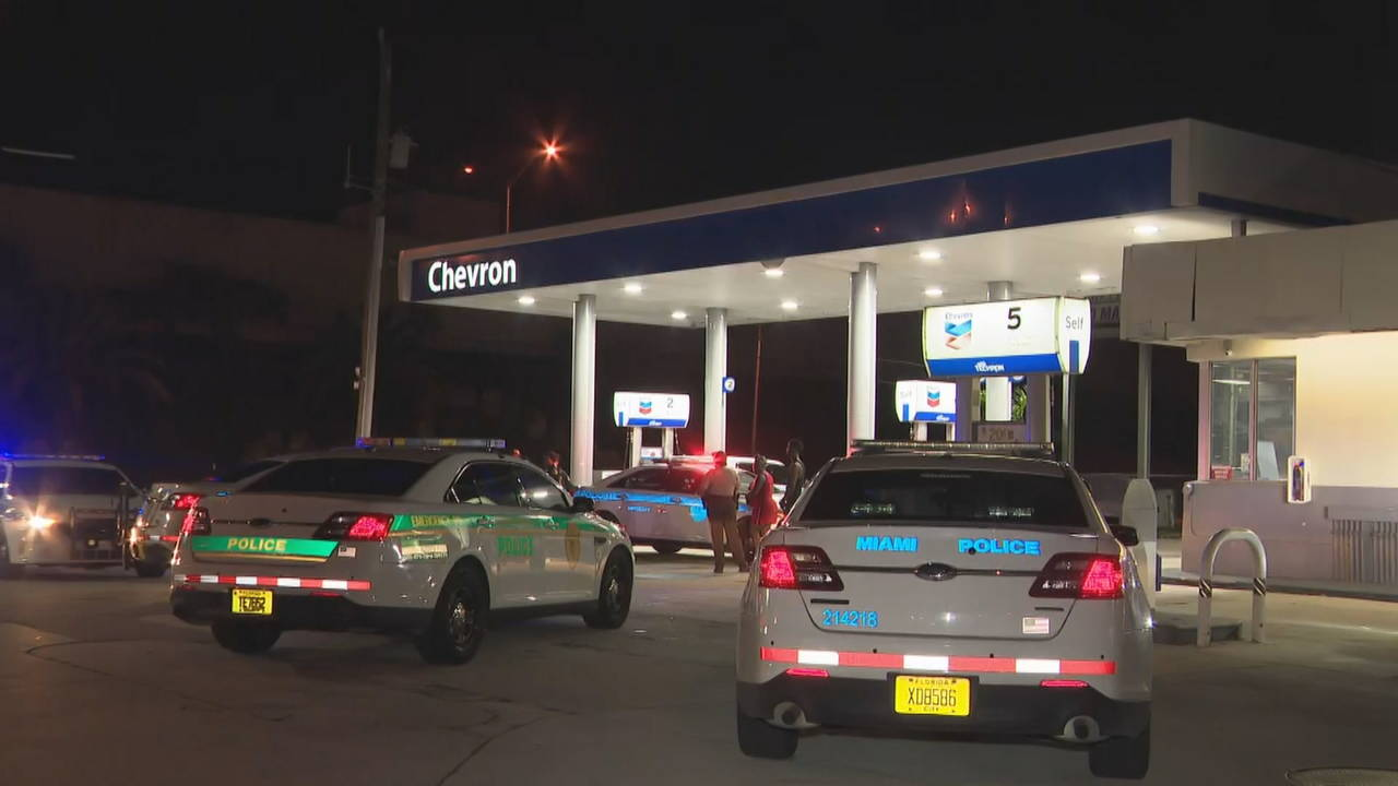 Police at Chevron gas station after woman shot in vehicle was driven there