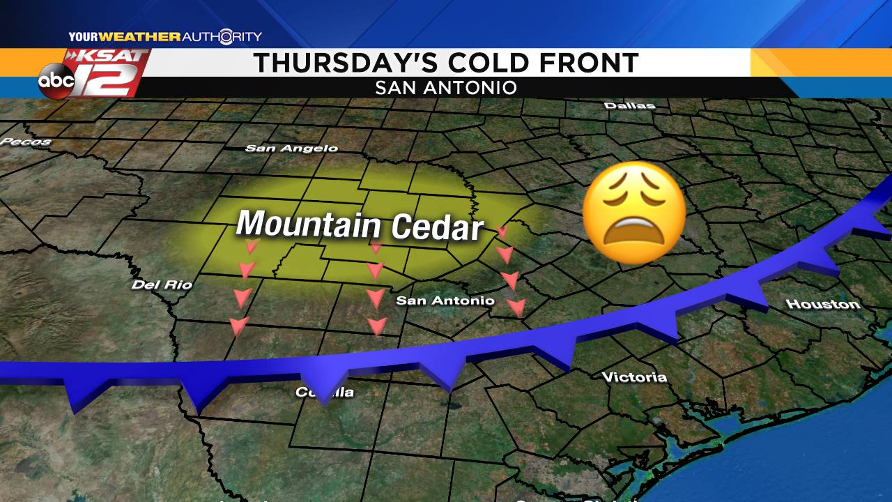Ksat Weather Cold Front Today Will Mean More Mountain Cedar